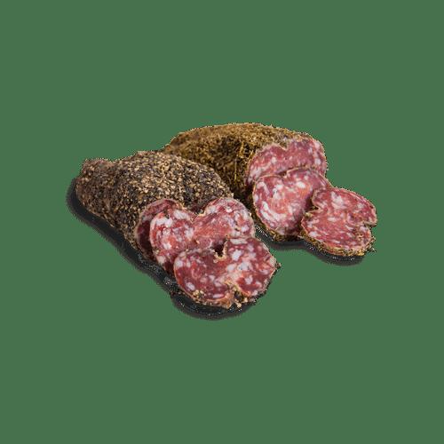 Saucissons enrobés de poivre ou d'herbes