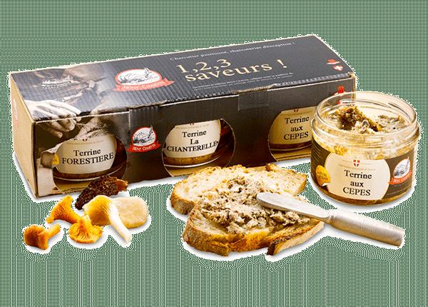 Tartine de terrine aux Cèpes et Trio de terrines aux champignons 1, 2, 3 saveurs !