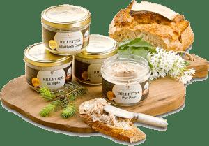 Pain de campagne, sapin, ail des ours et rillettes pur porc de Mont Charvin