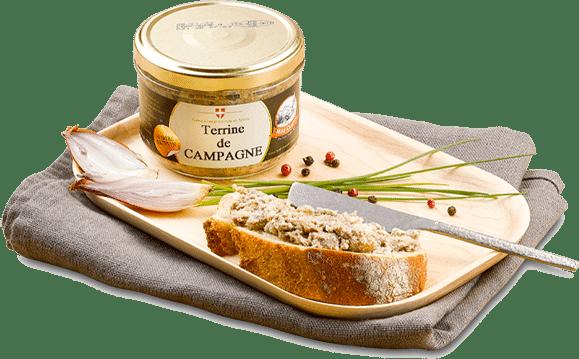 Tartine de Terrine de Campagne avec échalote, poivre et fines herbes