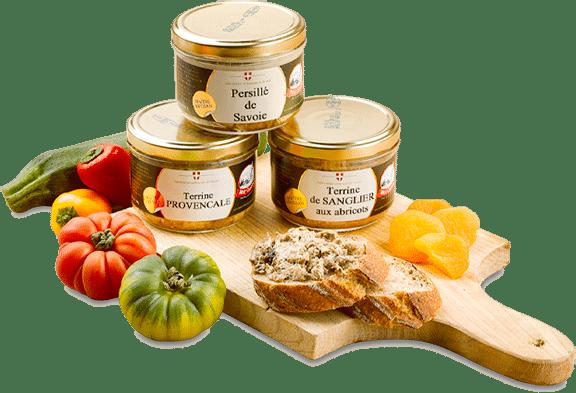 Légumes du soleil, abricots et tartines de Terrines Spéciales Mont Charvin