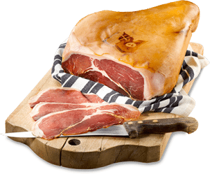 Le Rougeot de Charvin® Cured Savoie Ham on a chopping board with background removed