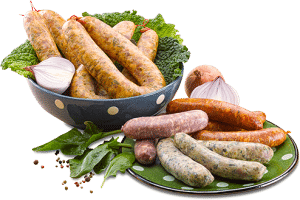Bol et assiette de diots, pormoniers, saucisses au choux détourés