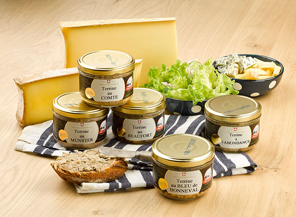 Sliced cheeses, salad and Mont Charvin Cheeses Terrines